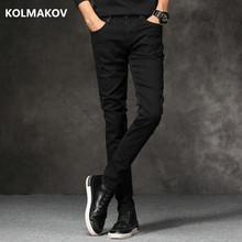 2018 wiosna nowy Mężczyźni Dżinsy czarny klasyczny Fashion Designer denim skinny jeans mężczyźni casual wysokiej jakości Slim fit spodnie tanie tanio Mężczyzn Pełna długość Spodnie ołówkowe Zmiękczacz CS A8806 P35 KOLMAKOW Kieszenie Midweight Regularne Średni lekki ciemny
