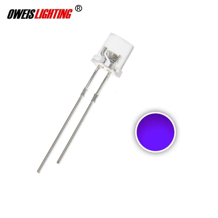 100x Pink 3mm Flat Top LEDs Wide Angle Light Lamp USA