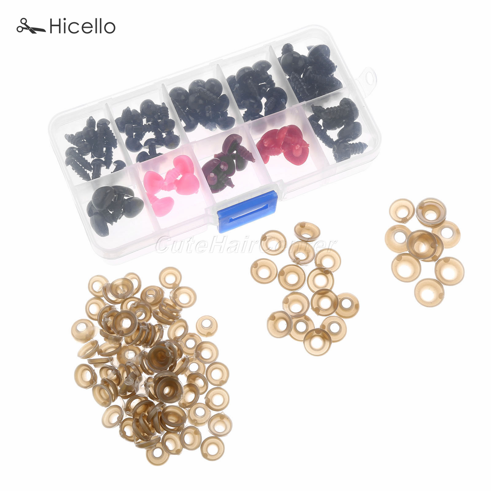 100PCS/box Eyes+Nose 6/8/9/10/12 MM plastic Safety eyes tri-angle nose thread end washer buckle DIY doll toy Sewing sets Hicello