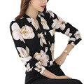 Женщины V-образным Вырезом Шифон Блузки 2017 Весна Blusas С Длинным Рукавом Плюс Размер Печати Рубашка Блузка Женщины Топы Office Носить Рубашки
