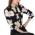 Women V-neck Chiffon Blouses 2017 Spring Blusas Long Sleeve Plus Size Print Shirt Blouse Women Tops Office Wear Shirts
