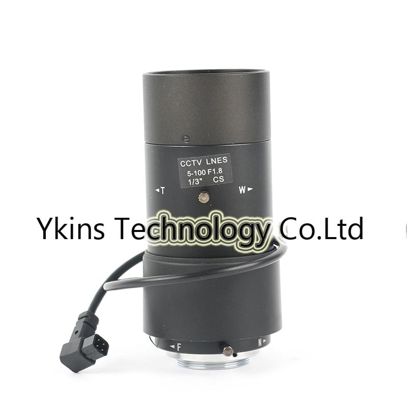 5 100mm Diameter Aperture F1.8 1/3 CCTV Lens CS mount Lens Automatic Zoom Lens for Security Surveillance Camera Monitoring