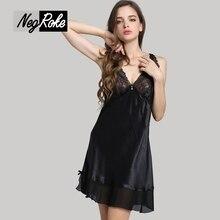 New high- quality sexy 100% silk women nightdress V-neck sleeveless black temptation sleepdress night gown pyjamas for women