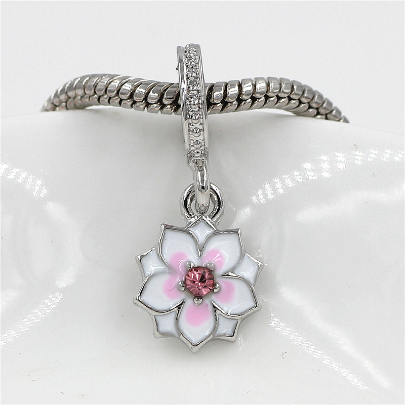 2018 Summer Silver Planted European Enamel Charm with CZ Beads Fit Pandora Charm Bracelet Original Fashion Jewelry free shipping