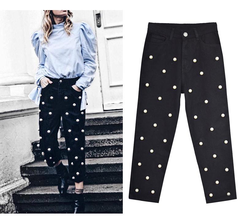 2017 Women`s high waist straight loose wide leg cowboy broken pants pendant big pearl lady pants street wild (6)
