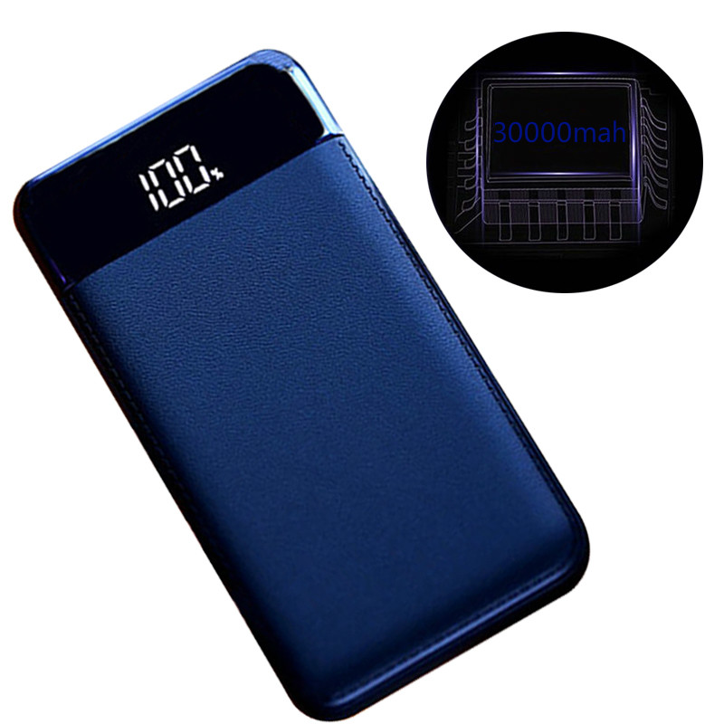 30000mah Power Bank External Battery PoverBank 2 USB LED Powerbank Portable Mobile phone Charger for Xiaomi iphone Huawei