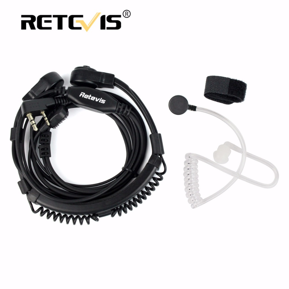 Retevis Extendable Throat Microphone Headset PTT Walkie Talkie Earpiece For Kenwood For TYT For Baofeng UV-5R RT5R H777 RT7 RT22