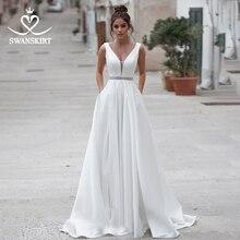Swanskirt 크리스탈 새틴 웨딩 드레스 2020 새로운 빈티지 v 목 a 라인 포켓 브라 가운 플러스 크기 Vestido 드 Noiva N114
