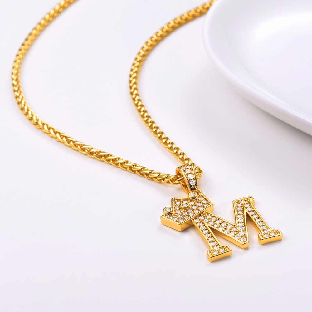 ... Crown Letter M Necklace Initial Necklace 26 Alphabet Jewelry  Personalized Gift Cubic Zirconia Letter Charm For