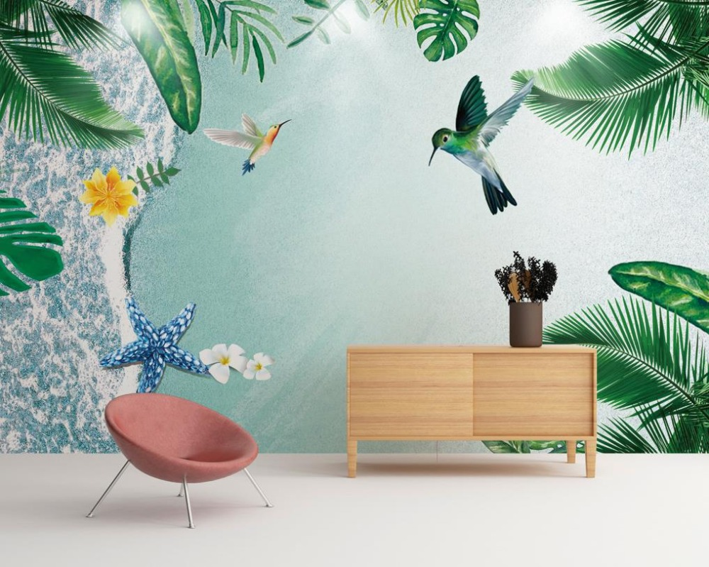 compare prices on beach wall murals online shopping buy low price creative photo wall mural fashion beach hummingbirds wallpaper for walls 3 d modern painting wallpaper kids