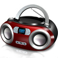Retro Protable Bluetooth CD Boombox CD Player USB Amplifier Stereo Speaker FM Radio / Earphone Jack (Red)