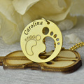 Wholesale Gold Baby Feet Necklace Engraved Kids Name Disc Baby Necklace Personalized Cute Footprint Charm Baby Shower Jewelry