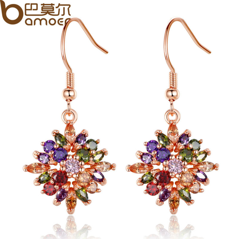 BAMOER Rose Gold Color Flower Drop Earrings with Colorful Cubic Zircon For Women Brinco JIE036