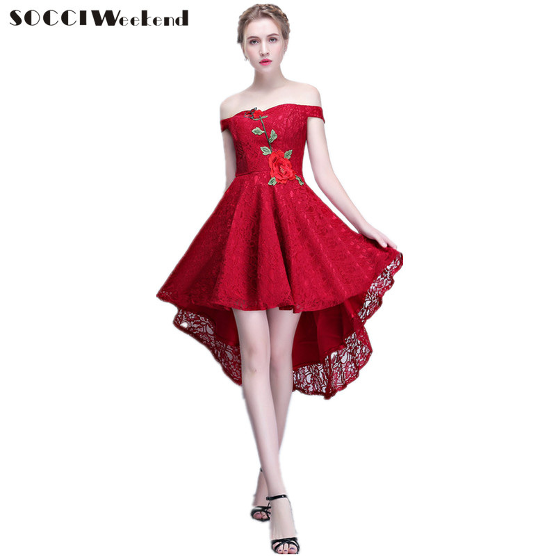 SOCCI Weekend   Cocktail     Dress   Off The Shoulder New Simple Elegant Bride Lace High/low Sleeves Formal Party Gown Robe De Soiree