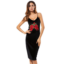 Laipelar Sexy Club Velvet Dresses Floral Bodycon Dress Deep V Neck Black Embroidered Rose Backless Spaghetti Stripe Cami Dress double v neck cami dress