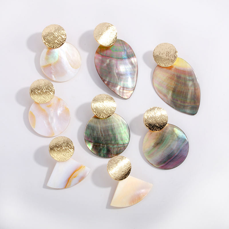 Fashion Wedding Jewelry Hanging Natural Shell Pearl Geometric Earrings High Quality Natural Shell Pendant Earrings for women P40 9