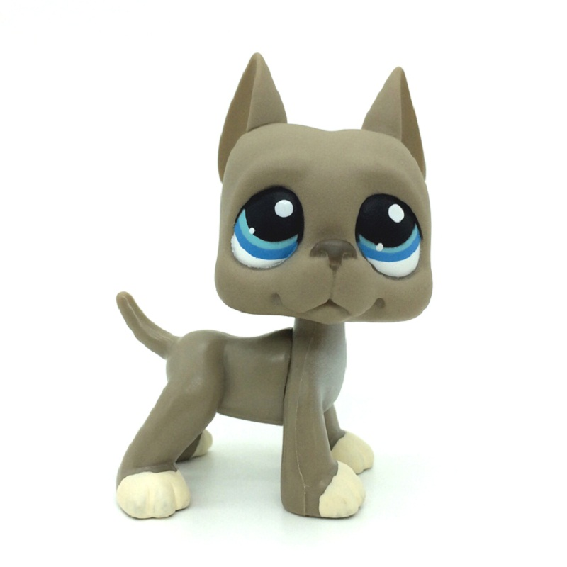 LPS Grey Great Dane Dog Littlest Pet Blue Eyes Action Figures Puppy LPS Child Gift free delivery 6CM pet shop lps toys great dane dog 577 blue brown flowered eyes white puppy figure child toy without magnet dog gift