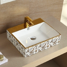 Continental winnings square counter basin artistic wash basins golden shipping