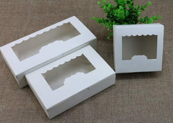 White Paper Cake Box With Clear Window Moon Cake Packing Box Wedding Festival Party Gift Packing Boxes 100pcs/lot Free shipping
