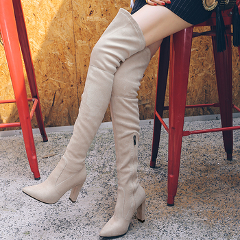 ZawsThia 2019 winter autumn stretch elastic thigh boots high heels shoes for woman over the knee high boots women overknee boots 20