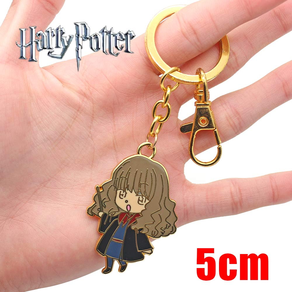 Wellcomics Harri Potter Hermione Granger Ron Weasley Symbol Metal Pendant Keychain Keyring Ornament Cosplay Collection Cute Gift