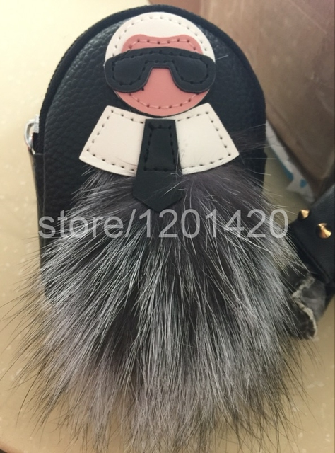 karl mini backpack key wallet real leather change purse pendent real fur handbag charms fox pluffy keybag