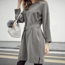 Alishebuy Fashion Women's O-neck Drop-Shoulder Sleeve Casual Loose Dress With Belt
