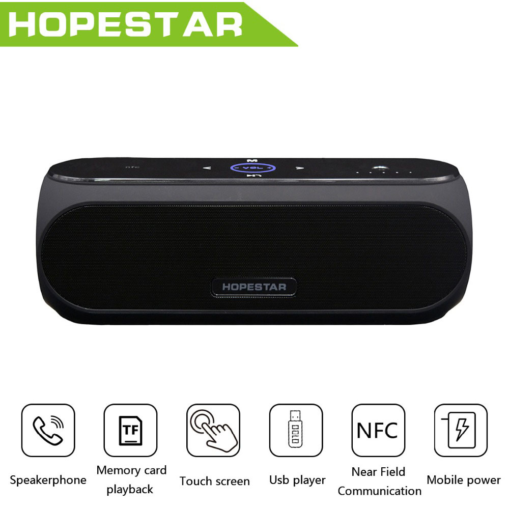 HOPESTAR H19 NFC Touch Wireless Bluetooth Speaker Stereo Bass Column Mp3 Altoparlante Subwoofer Speakers with 4400MAH Powerbank wireless bluetooth speaker led audio portable mini subwoofer