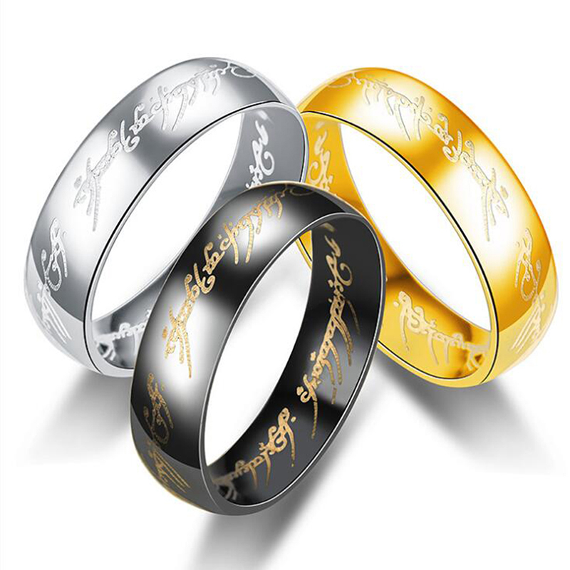 36pcs Lot Hobbit Letter Rings Black Stainless Steel The Lord The