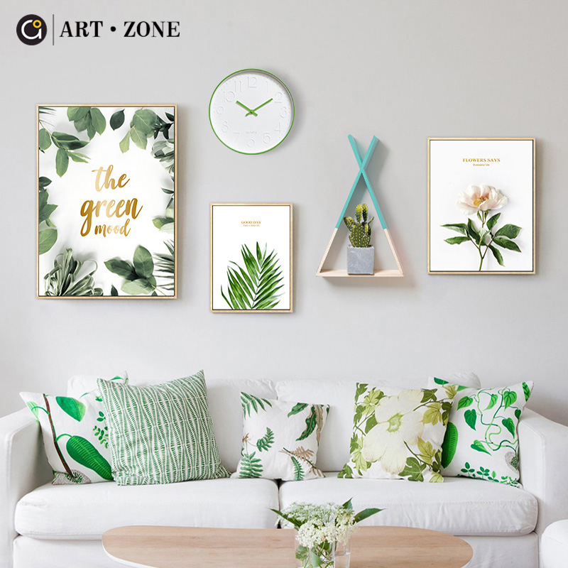 ART ZONE Flower Green Leaves Painting Nordic Minimalist Wall Print Poster Leaf Art Home Decor Painting Living Room Poster