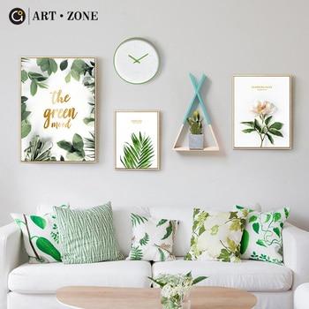 Sanat Bölge çiçek Yeşil Yapraklar Boyama Iskandinav Minimalist Duvar