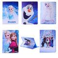 3D Kids Cute Cartoon Flip Princess Elsa Anna and Olaf PU Leather Stand Case Cover for ipad mini 4 1pc
