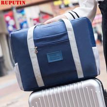 RUPUTIN damskie torby podróżne podróżne podróżne o dużej pojemności wodoodporna torebka męska kostki do pakowania walizka na kółkach tanie tanio Poliester zipper Wszechstronny 18cm Stałe 0 3kg F011 Miękkie 43cm Moda Polyester WOMEN 33cm Podróż torba Watermelon red Black Sky blue Gray White cactus Navy