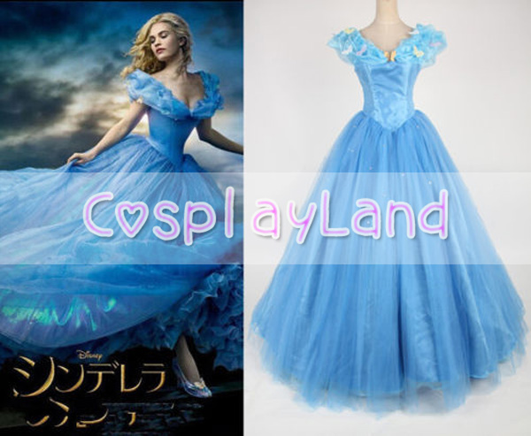Princess Cinderella Gorgeous Dress Women Blue Dress Cosplay Costume Custom Made Cinderella Princess Dress
