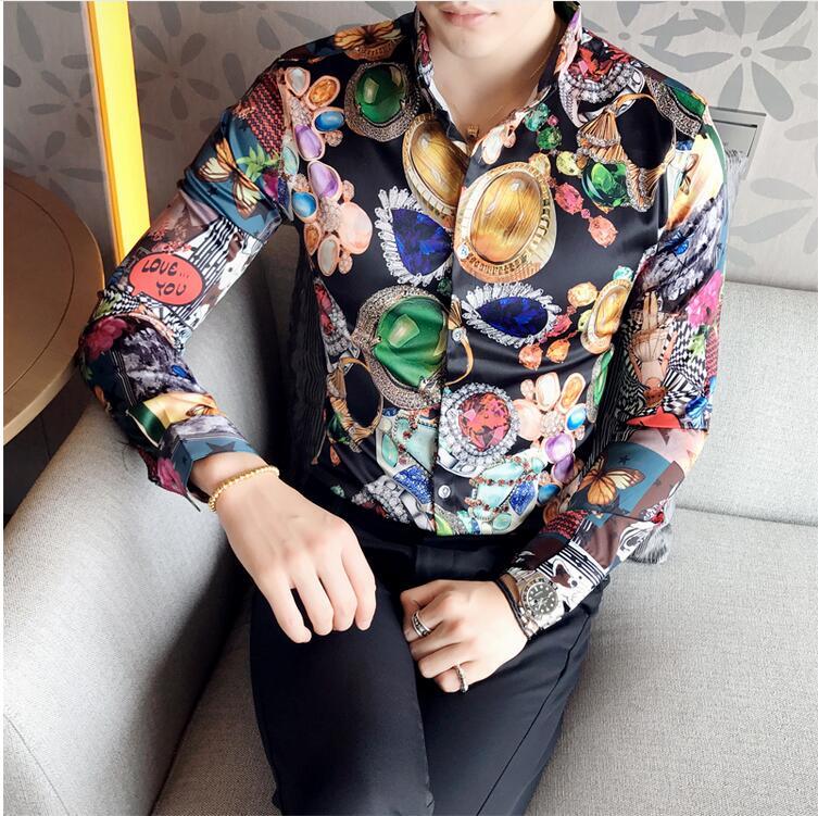 Chemise de fête CH. KWOK hommes fantaisie fleur à manches longues Camisa Social Masculina Camisa Homem Vintage vêtements hommes Camicie Uomo 3xl
