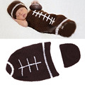1 Set Crochet Photography Sweater Newborn Cap Football Suits Costume Baby Sleeping Bag