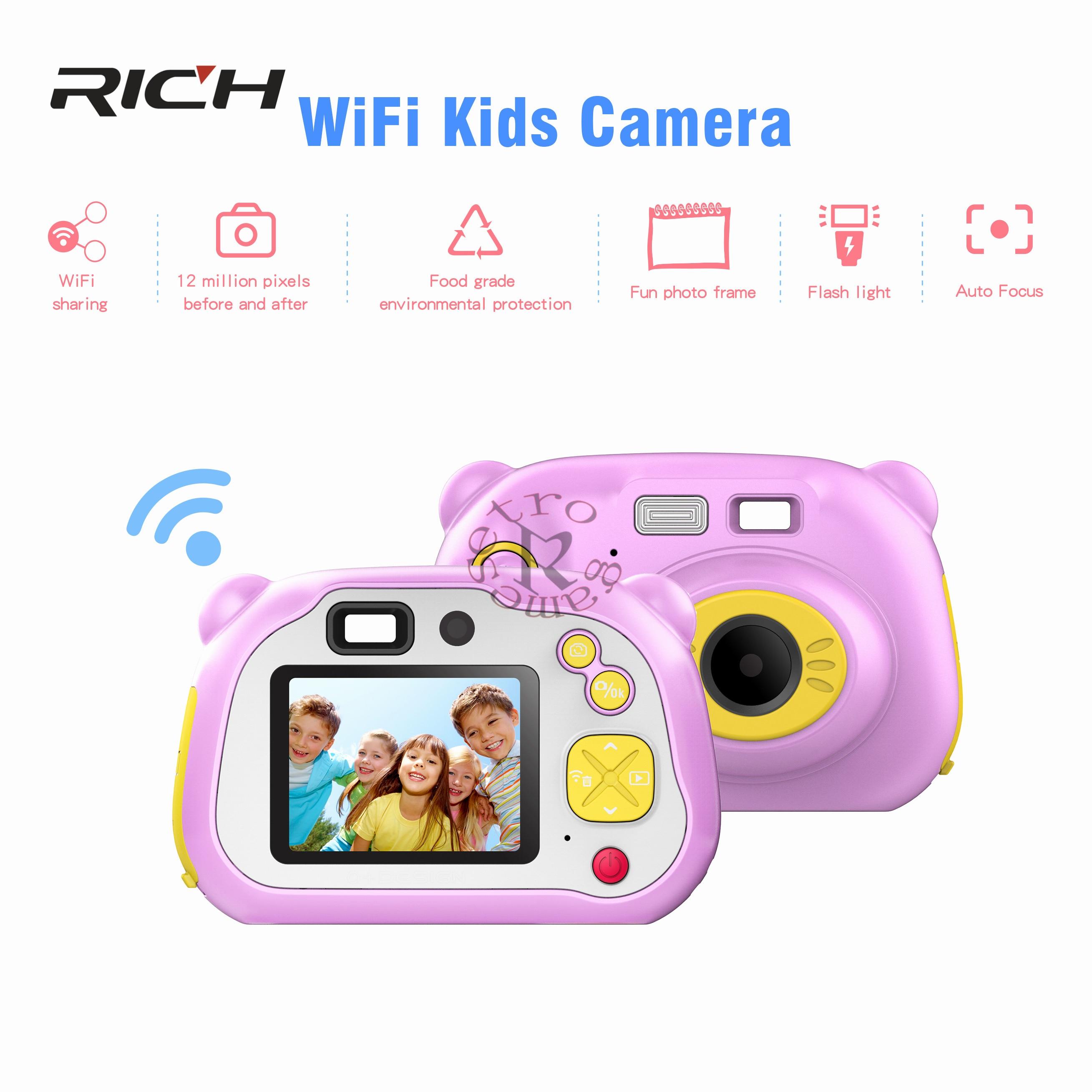 Antscope Mini Wifi enfants caméra 1080 P H108D 2 pouces LCD écran dessin animé Portable caméra enfants jouets cadeau d'anniversaire pour enfants 19