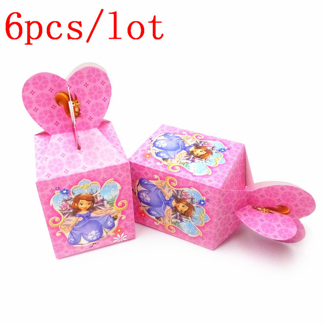Us 2 87 28 Off Disney Princess Sofia Favor Box Candy Box Kids Birthday Party Decoration Baby Shower Gift Box Cupcake Boxes Supplies 6pcs In Gift