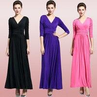 New Ruched Eo Classy V Cổ Jersey Tầng Length Maxi Dress Gown Cộng Với Kích Thước Có Sẵn
