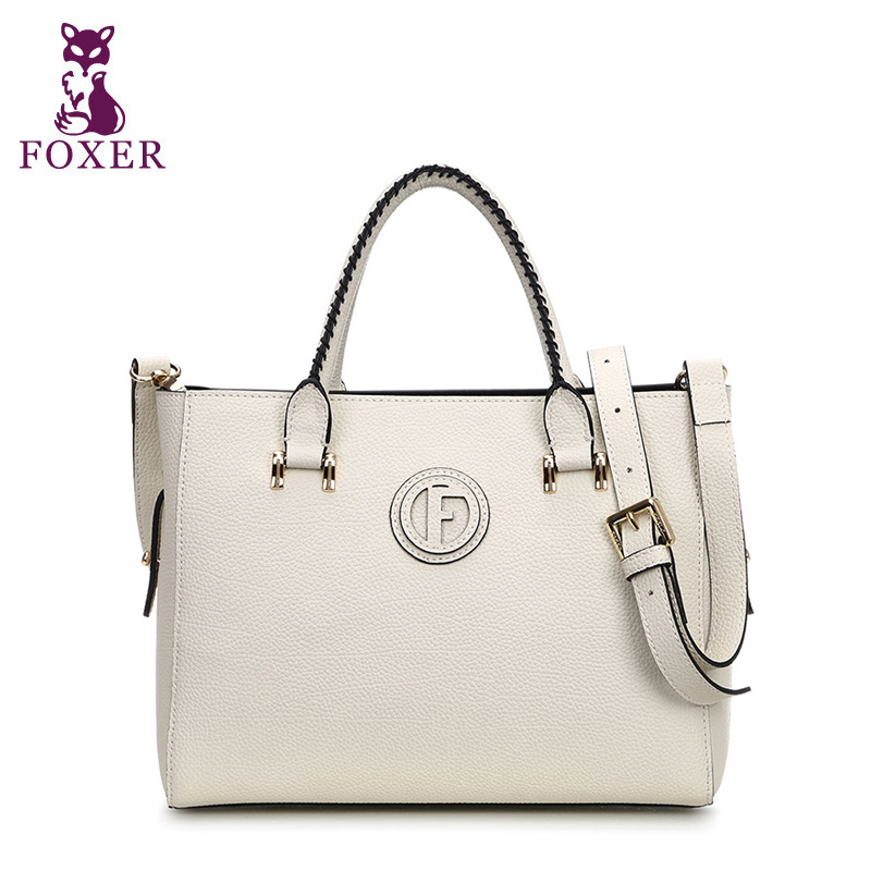 FOXER new 2018 women leather handbag split leather bags women messenger bag ladies shoulder fashion tote brand High quality new split leather snake skin pattern women trunker handbag high chic lady fashion modern shoulder bags madam seeks boutiquem2057