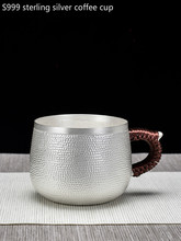 Pure hand-made silver 999 water cup teacup home coffee tea set drinking utensils