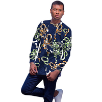 Conventional African Men's African Print Tops Long Sleeve Man T shirt Custom Made Printed Africa Clothing For Men