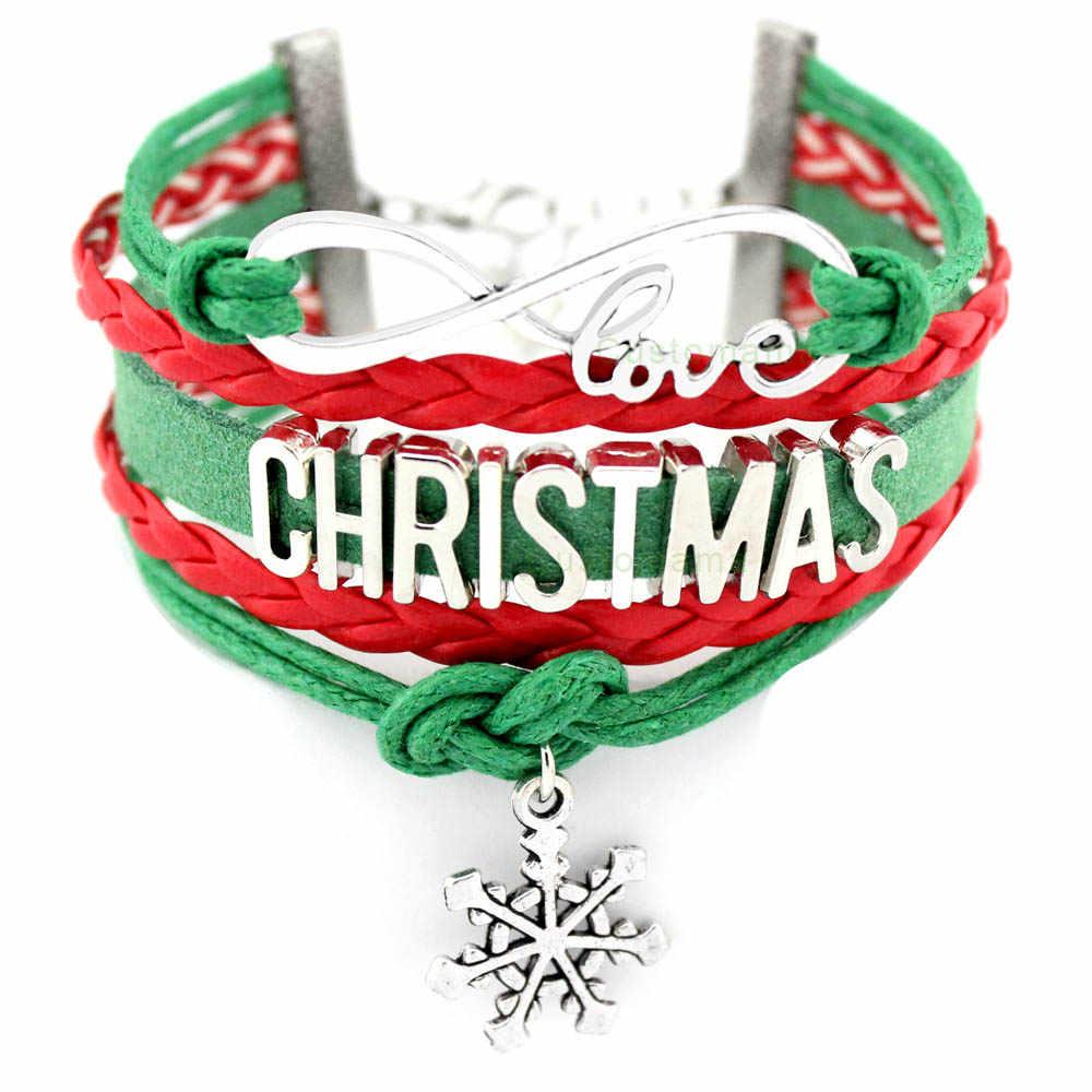 Wesołych boże narodzenie bałwan wisiorek śnieżynka bransoletki X-mas nieskończoność 18mm Dome Cabochon ręcznie robiona biżuteria kobiety mężczyźni czerwony zielony prezent