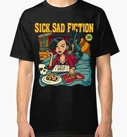 Sleeves Cotton Free Shipping Crew Neck Sick Sad Fiction Men Short Compression T Shirts