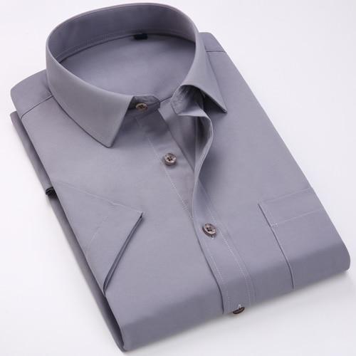 Men's Regular-fit Summer Short Sleeve Solid Classic Shirt Single Patch Pocket Formal Business Work Office Basic Dress Shirts 18