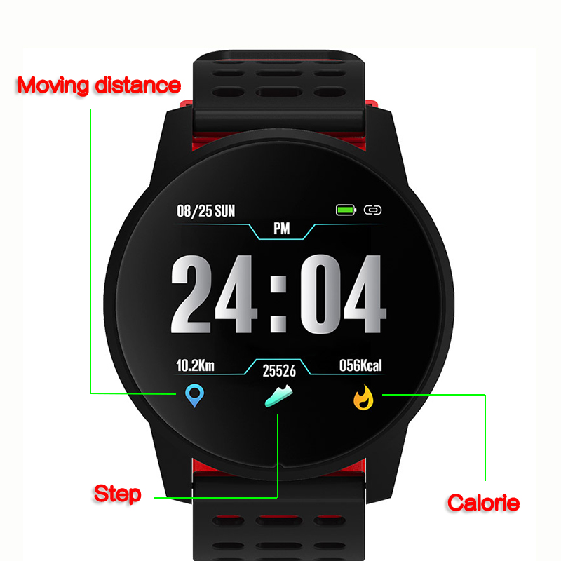 Deporte reloj inteligente de las mujeres de los hombres de la presión arterial impermeable actividad rastreador de ejercicios Monitor del ritmo cardíaco de Smartwatch GPS Android ios