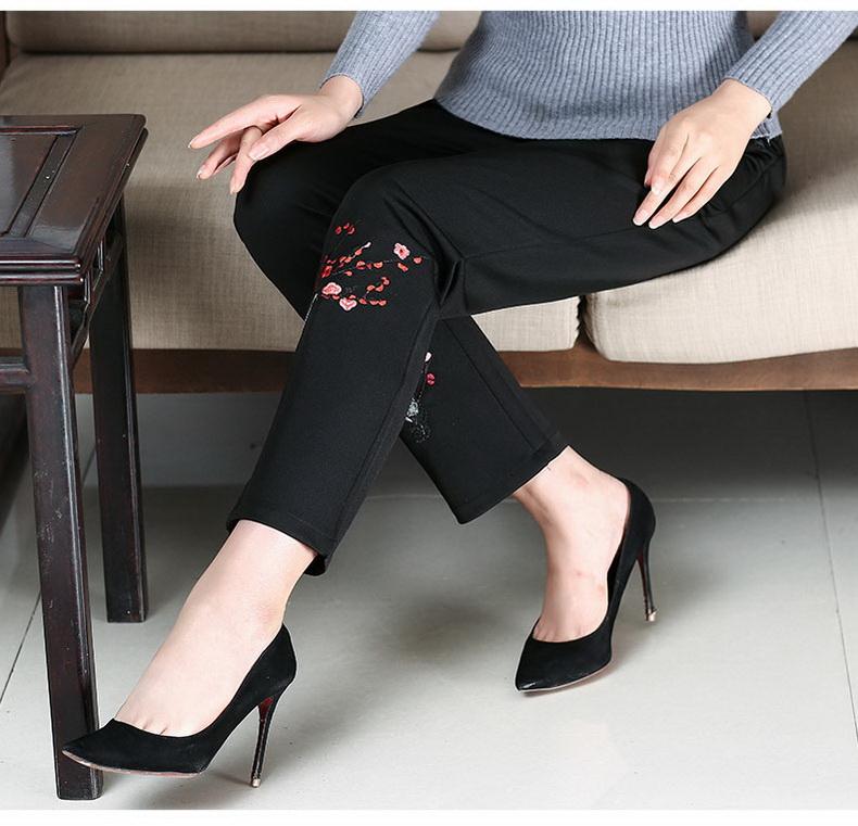 WAEOLSA Woman Pant Autumn Chinese Women Black Trousers Elastic High Waist Pants Mother Flower Embroidery Trouser Eldely Lady Pantalones (9)
