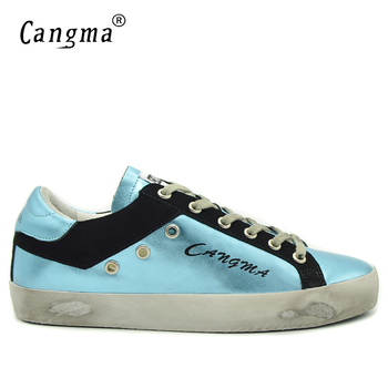CANGMA Brand Sneakers Men's Shoes Big Size Lace-up Genuine Leather Blue Casual Shoes Man Adult School Footwear Breathable Flats