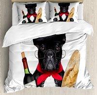 Бульдог постельное белье Французский Собака в шляпе с красное вино и багет хлеб изысканной Парижанка животных 4 шт. Постельное белье