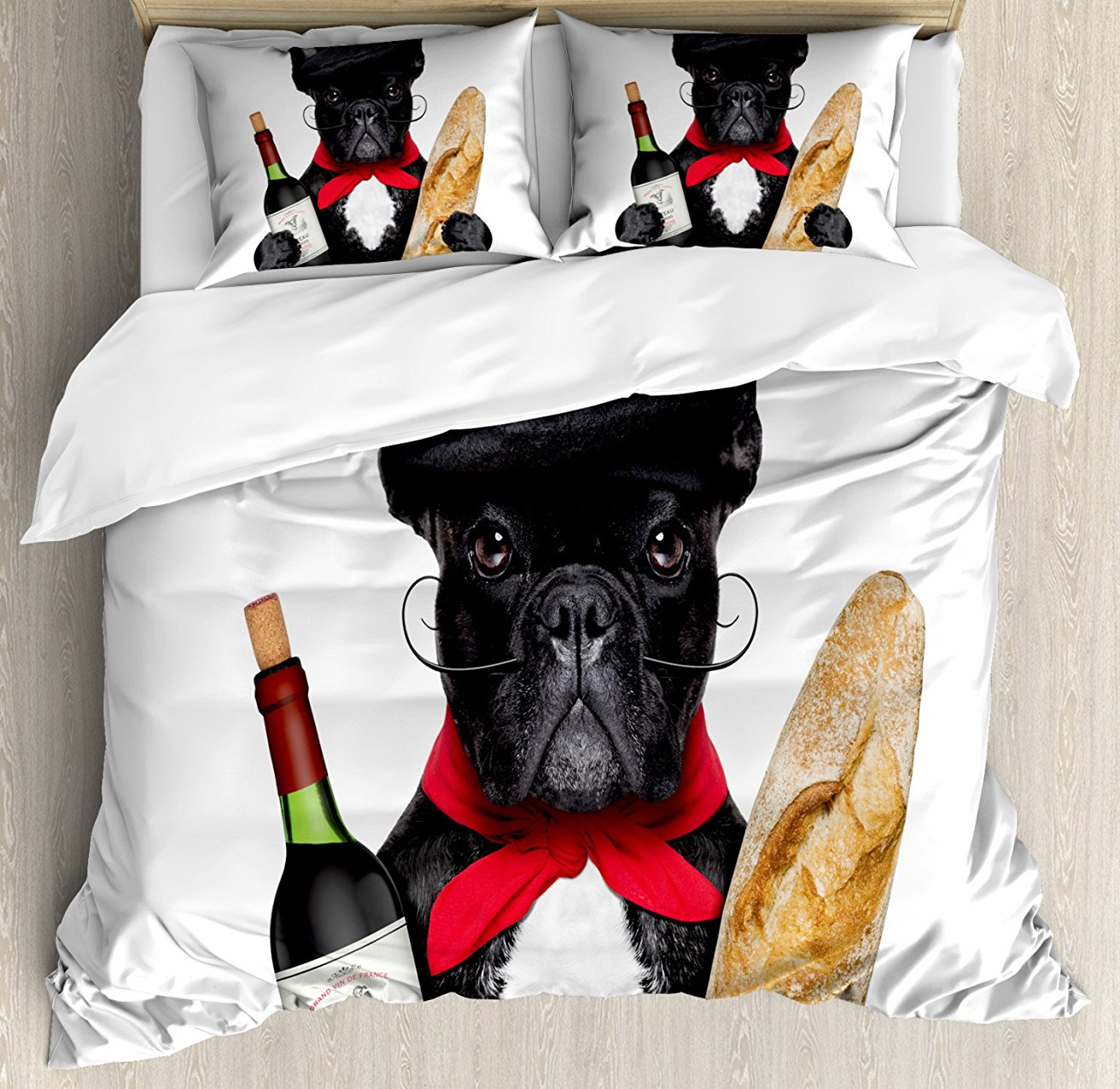 Bulldog Duvet Cover Set French Dog in a Hat with Red Wine and Baguette Bread Gourmet Parisienne Animal 4 Piece Bedding Set